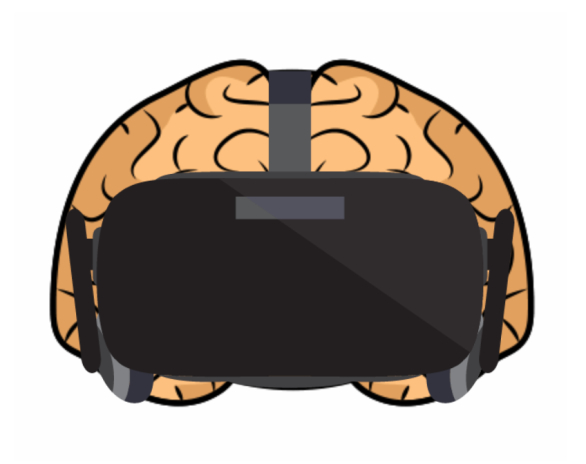 VR headset on human brain