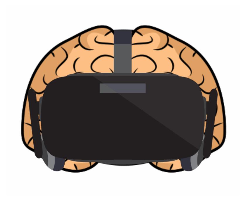 VR headset on human brain