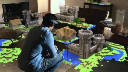 Man playing Minecraft with MicrosoftHoloLens