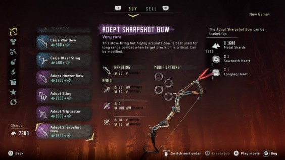 Horizon Zero Dawn weapon upgrade