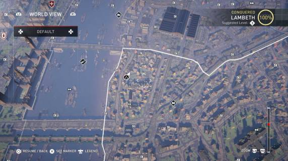 Assassin's Creed Syndicate map of Lambeth secrets
