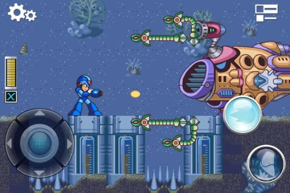 gameplay of Mega Man X running on iPhone