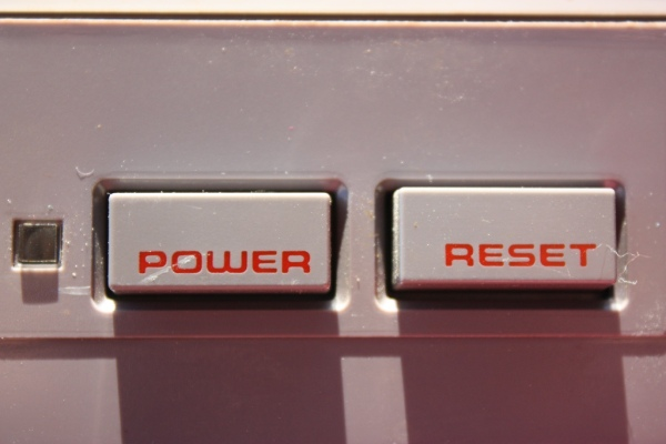 NES power and reset button close up