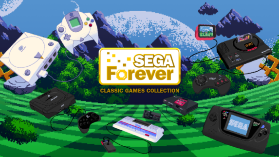 marketing material for Sega Forever retro games on iPhone