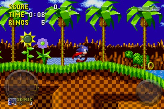gameplay of Sonic the Hedgehog running on iPhone