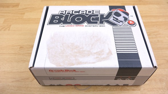 Arcade Block subscription box sitting on a table