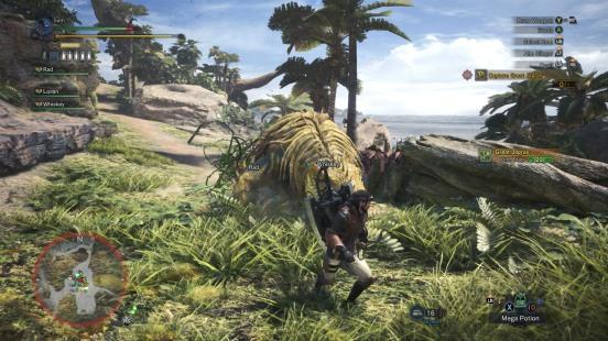 capturing a monster in Monster Hunter World