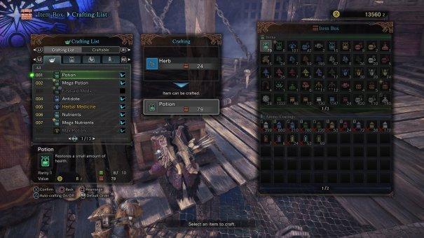 Monster Hunter World crafting menu in-game screenshot