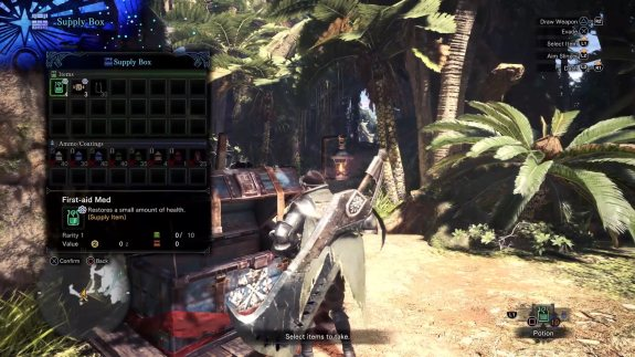 choosing an item to pick up in Monster Hunter World - in game screenshot