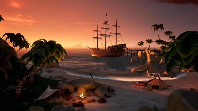 Sea of thieves beach sunset gameplay